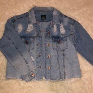 Wild Fable Cropped Acid Wash Denim Jacket